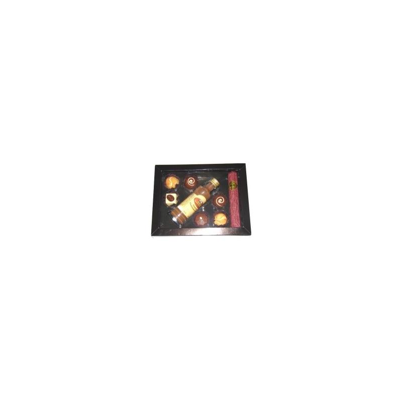 Caixa 1 Charuto com mini licor e 06 BB com borda em papel duplex e berço marrom - Ref. 057